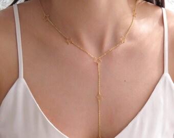 Starry Necklace | Lucky Star Necklace | Dainty Star Charm | Delicate Star Charm | Star Y Necklace | Star Lariat Necklace |