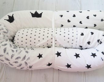 Crib Bumpers , Baby Bed Bumper ,Black and White Snake Pillow , Bumper Bed Pillow , Star Print Pillow , Black and White Baby Bedding