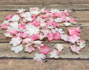 100 Tiny Pink and White Flower Petals - Artificial Flowers, Silk Flowers, Flower Crown, Scrapbooking, Hair Accessories, Millinery, Tutu, Hat