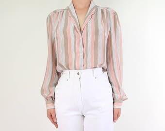 VINTAGE Striped Blouse Pink Longsleeve 1980s Top