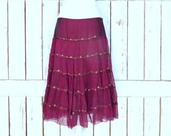 Vintage sheer silk dark red ruffle midi skirt/mid length tiered festival skirt/90s burgundy/maroon silk skirt/large
