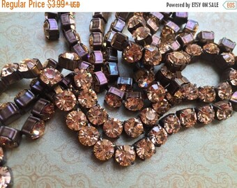SALE Rhinestone cup chain Rustic patina 6.1mm 29ss Large Chunky Dark Brown/blk Patina brass LIGHT PEACH