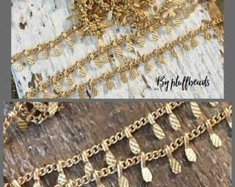 SALE CHAIN matte brushed GOLD plated 1.5mm chain link 5mm stamped dangle  drop