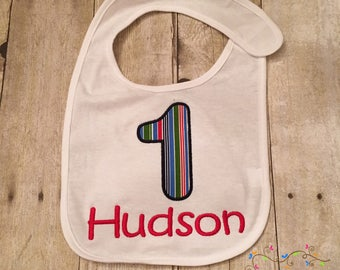 First Birthday - 1 - Appliqued Bib