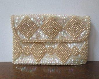 Vintage '50s/'60s La Regale Satin Sequin/Beaded Ivory & Iridescent Envelope Clutch