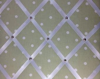 "Pin Board/Notice Board ""Sage Spot Dotty Print Fabric' with Ribbon & Chrome Trim"" Message,Memo,Bulletin Board Large 48x40cm / 18x16"""