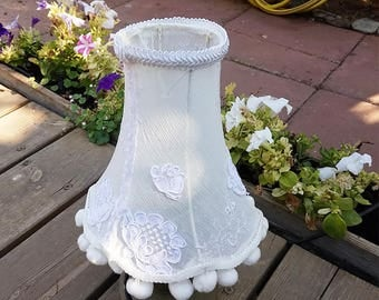 Shabby chic lamp shade, Lace table lighting in unique balls fringe, Retro lamp, Embroidery home decor, Country French decor, Rustic light.