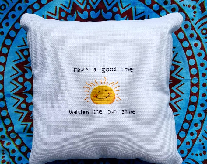 Widespread Panic Porch Song Havin a good time watchin the sun shine needlepoint with throw pillow option