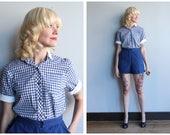 1950s Blouse // Shirt & Sweet Gingham Blouse // vintage 50s shirt