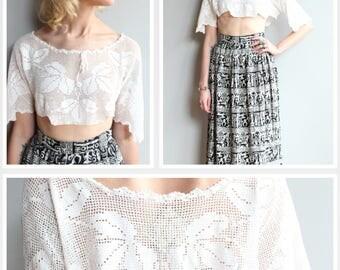 Antique Crochet Top // Floral Embroidered Cropped Blouse // vintage antique crochet top