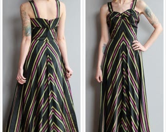 1940s Gown // Louella Ballerino Chevron Gown // vintage 40s Collegienne gown