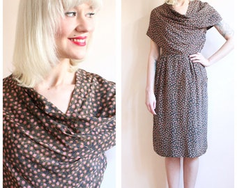 1940s Dress // Deco Draped Silk Dress // vintage 40s dress