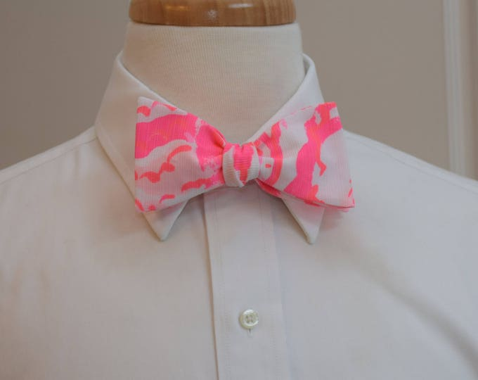 Men's Bow Tie, Beside The Point coral reef Lilly print, pink bow tie, wedding bow tie, groom bow tie, groomsmen gift, hot pink coral bow tie