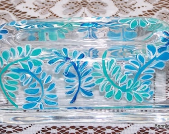 Butter dish with aqua and blue ferns