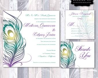 Peacock Wedding Invitation RSVP Thank You Card Feather Printable