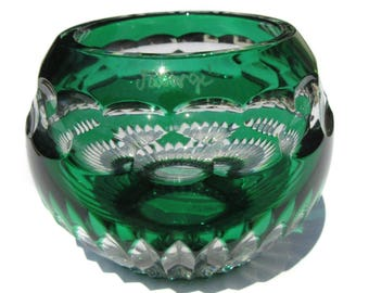 Faberge Glass Votive Candle Holder Dark Green Cut to Clear Glass Holiday Christmas Vintage Home Decor