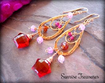 Artisan Bronze Copper Hoops, Ruby Red Quartz Star Earrings, Orange Hessonite Garnet Earrings, Pink Chalcedony Earrings