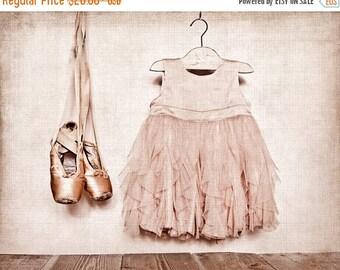FLASH SALE til MIDNIGHT Vintage Ballet Slippers and dress Photo Print, Girls nursery decor, Ballet Decor, Ballet Prints, Paris, French Decor