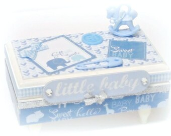 Baby Boy Memory Box Blue and White Baby Keepsake Box
