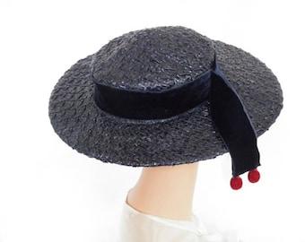 Blue straw hat tilt, vintage 1940s boater bolero, Eva Mae