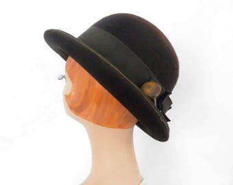 1960s derby hat, vintage brown tilt, Mr. John Classic