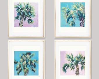 Set Of 4 Palm Tree Prints, Tropical Leaves Wall Art, Banana Leaf Print Set, Tropical Trees Home Decor, 4 Palm Leaf Prints