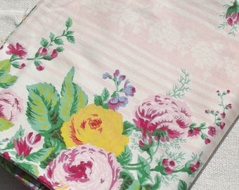Vintage French 1940s Floral Ticking Textile Panel Sateen Cotton Fabric piece