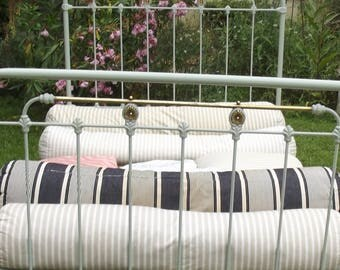 Vintage French Buff stripe Ticking Bolster Pillow Bed Bench Cushion Herringbone Metis Linen Feathers
