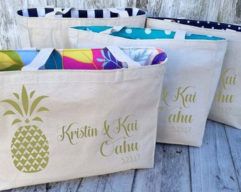 RESERVED FOR AMY - 2 Additional Lined Pineapple Aloha Hawaii Custom Destination Wedding Welcome Canvas Market Tote Bags