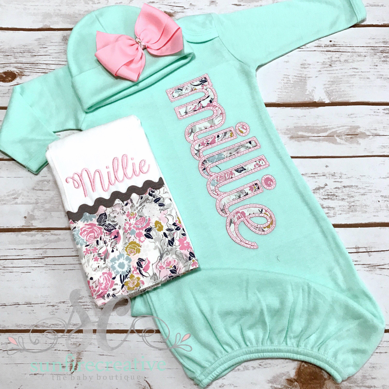 Newborn Footed Sleeper - Baby Girl Gown - Newborn Clothes - Baby ...