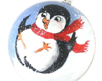 Handpainted Christmas Ornament Playful Pudgy Penguin with Red Scarf