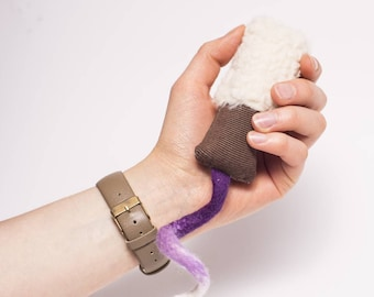 Sheeps Tail Cat Toy made with Organic Catnip and 100% Merino Wool