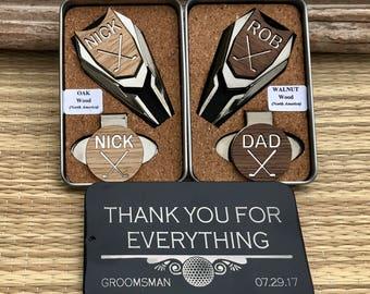 GROOMSMEN Gifts 4+ Set,Groomsmen Gift Box Ideas,Personalized Engraved Golf Ball Marker,Groomsman Usher Best Man Gift,Father of Bride Groom