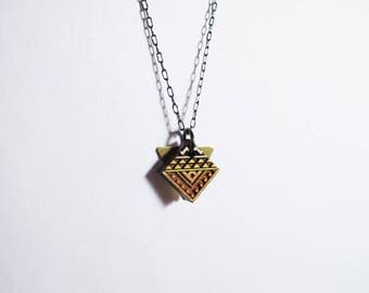 Small Diamond Necklace, Wood, Sahara Desert Colors 2