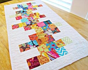 Quilted Table Runner, Modern Table Runner, Rainbow Table Runner, Quilted Table Topper, Kaffe Fassett fabric, White Table Runner