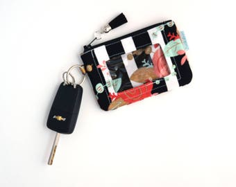 Cute Wallet - Zip ID Case - Student ID Holder - ID Card Holder - Compact Wallet -  Floral Wallet - Keychain Wallet - Coin Purse