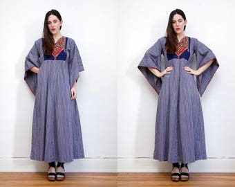 Vintage Kaftan Hand Embroidered Cotton Batik Hippie Angel Sleeve Kimono Kaftan Boho Maxi Dress 70's