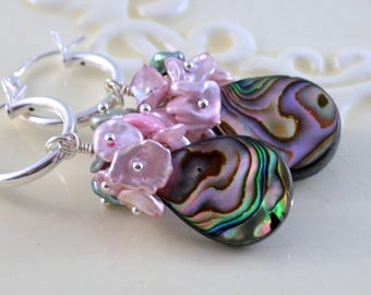 Purple Abalone Earrings, Sterling Silver Hoops, Lavender Keshi Pearls, Paua Shell, Wire Wrapped, Floral Jewelry