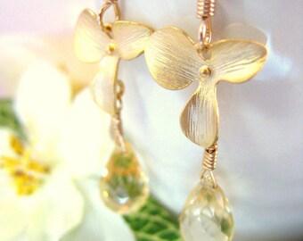 Citrine flower drop gold earrings, citrine plumeria sakura dangle earrings, Hawaiian citrine flower gold earrings