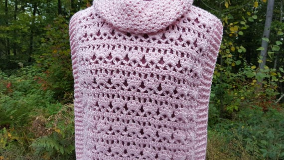 Pink pullover, custom sized women's cover-up, crochet pullover, mother-daughter set, fall fashion pullover, chunky sweater
