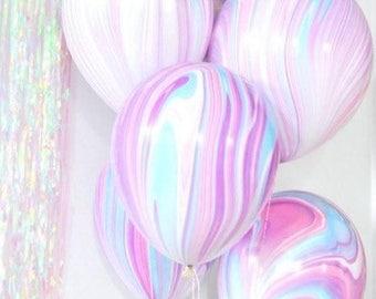 Unicorn balloons,marble balloons,super agate balloons,pastel balloons,baby shower,unicorn party,princess party,unicorn