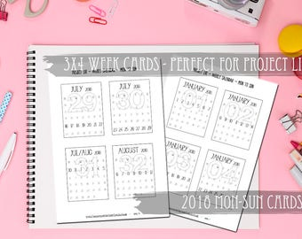 Printable 2018 Numbered Week Cards-3x4 Cards-PL Monthly Calendar-Monday to Sunday-Calendar for Weekly Project Life