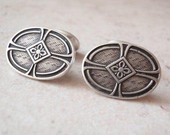 Antique Cufflinks Arts and Crafts Sterling Silver Bean Back Vintage V0879