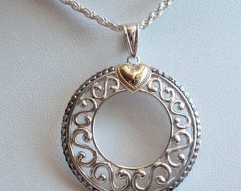 Circle Hearts Necklace 10k Gold Accent Wreath Scroll Sterling Silver Vintage 130506