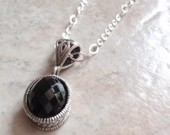 Black Spinel Necklace Sterling Silver Rose Cut Oval 18 Inch Fancy Chain Vintage CW0200