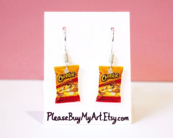 Hot Cheetos Snack Food Junk Food Dangle Earrings Drop Earrings French Hook Earrings Funny Jewelry Accessories Gift Idea