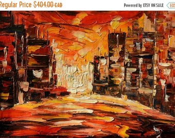 70% off Painting ORIGINAL Oil Painting Palette Knife Impasto Textured Cityscape Buildings Colorful ready to hang wall decor Red ART by March