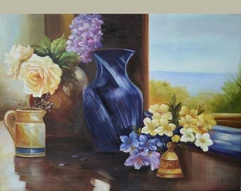 70% off ORIGINAL Oil Painting Spring Feelings 40 x 30 Floral Brush Colorful Lilac Roses Vase Window Blue Still life Huge ART by Marchella