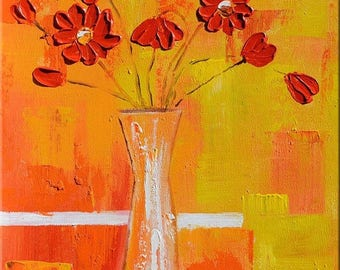 70% OFF ORIGINAL Oil Painting Flowers 23 x 30 Palette Knife Flowers Modern Textured Yellow Orange Red White Vase ART by Marchella