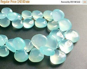 ON SALE 55% Aqua Chalcedony Plain Heart Beads, Aqua Chalcedony Briolette Beads, Chalcedony Necklace, 8mm - 10.5mm, 3.5 Inch, 19 Pcs - RAM27
